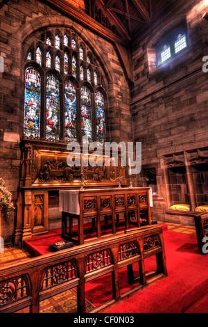 St Wilfrids Church Interior and altar, Grappenhall Village South Warrington Cheshire WA4, England United Kingdom - Stock Photo
