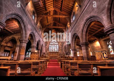 St Wilfrids Church Interior Grappenhall Village, South Warrington, Cheshire, WA4, England, United Kingdom - Stock Photo