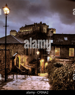 The Vennel in winter, snow and ice at dusk, Edinburgh, Lothian, Scotland, UK @HotpixUK - Stock Photo