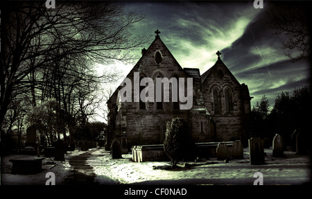 All Saints Church in winter, Thelwall, South Warrington, Cheshire, England, Great Britain - Stock Photo