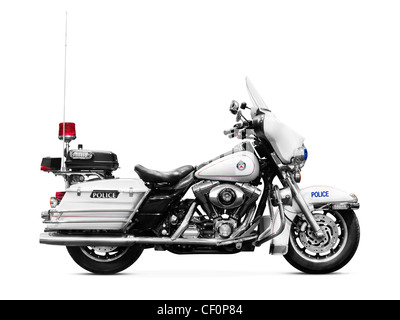 Police motorbike Harley Davidson FLHTP side view isolated on white background - Stock Photo