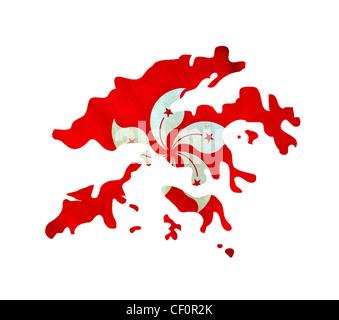 Map of Hong Kong isolated