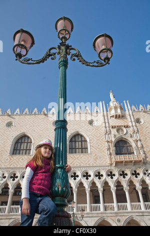 Young traveler playing in Venice, Italy. - Stock Photo