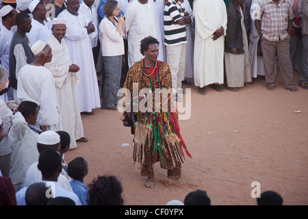 Sudan, Khartoum, Omdoman, Local man dressed in costume at Whirling Dervishes, ceremony from Mevlevi Order - Stock Photo