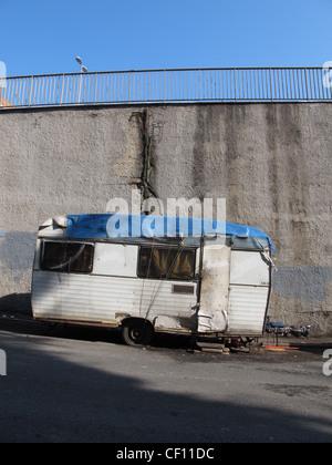 old caravan in street in rome italy - Stock Photo