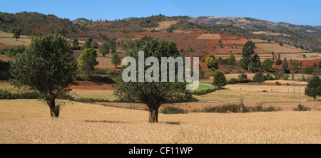countryside landscape between Aungban and Pindaya, Myanmar - Stock Photo