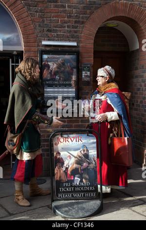 Male & Female Vikings in Coppergate, medieval streets at the Jorvick Viking Festival in York, February, 2012  'York's - Stock Photo