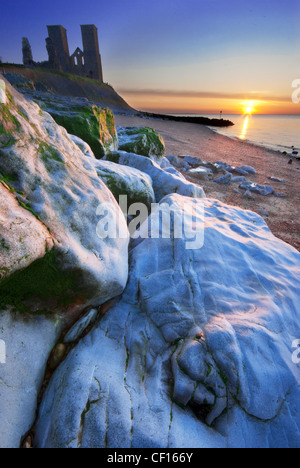 Sunset at the Reculver Towers in Kent - Stock Photo