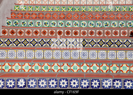 DECORATED SPANISH STYLE TILED STEPS - Stock Photo