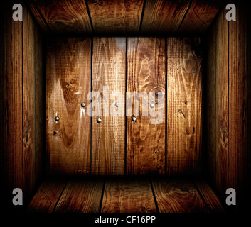 The inside of an empty wooden crate. Wood box - Stock Photo
