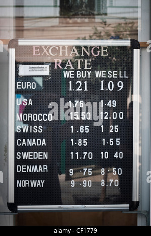 Currency exchange board in Main Street, Gibraltar. - Stock Photo
