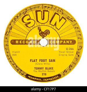 Rare 78rpm 1957 Sun record label ( No 278) - Tommy Blake with The Rhythm Rebels 'Flat Foot Sam' (Rockabilly) - Stock Photo