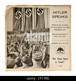 'Hitler Speaks', 7' vinyl record by Phonix with speech by Adolf Hitler in Kassel to soldiers of the Wehrmacht (4th - Stock Photo