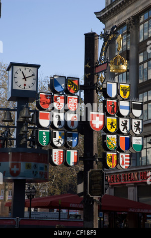 Cantonal tree of Swiss cantons at Swiss Court, Leicester Square, London - Stock Photo