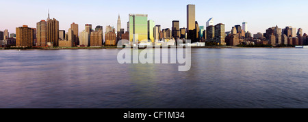 Skyline of Midtown Manhattan, East River, New York, United States of America - Stock Photo