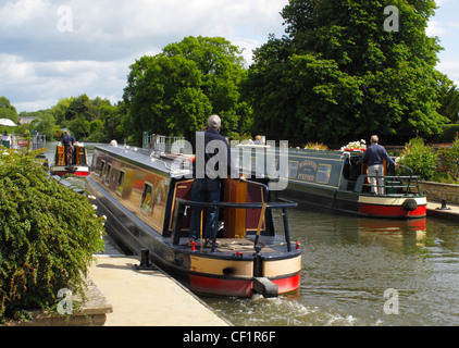 Narrowboats in Sandford Lock on the River Thames. - Stock Photo