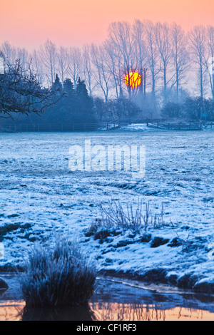 Sun rising behind line of trees on frosty Cotswold winter morning on the River Thames at Lechlade, Gloucestershire, - Stock Photo