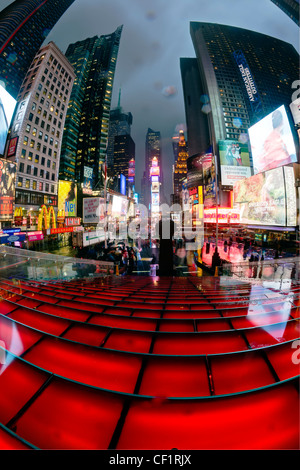 USA, New York City, Manhattan, Times Square, Neon lights at night - Stock Photo