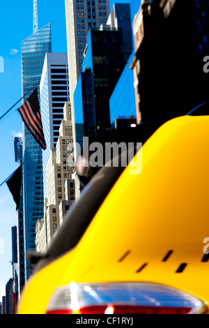Modern architecture of buildings along 42nd Street in Midtown Manhattan, New York, United States of America - Stock Photo