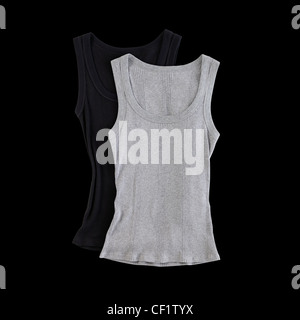 A still life shot of a pair of sleeveless tank tops - Stock Photo