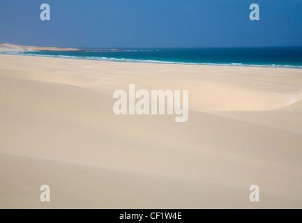 Rabil Boavista Cape Verde Islands February View over sand dunes to headland of deserted and unspoilt beach of Arjeda - Stock Photo