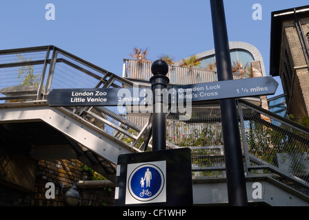 A directional signpost on the Regent's Canal in Camden. - Stock Photo