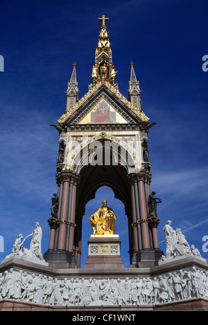 The south side of the Albert Memorial, commissioned by Queen Victoria in memory of her husband, Prince Albert - Stock Photo