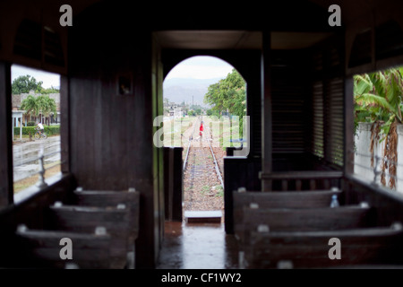 Old Wooden Train Interior With View Trought The Windows