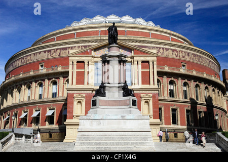A statue of Prince Albert outside the Royal Albert Hall, opened in 1871 by Queen Victoria. - Stock Photo
