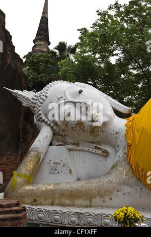 Reclining of buddha in Wat Yai Chai Mongkhon temple Ayutthaya, Thailand - Stock Photo
