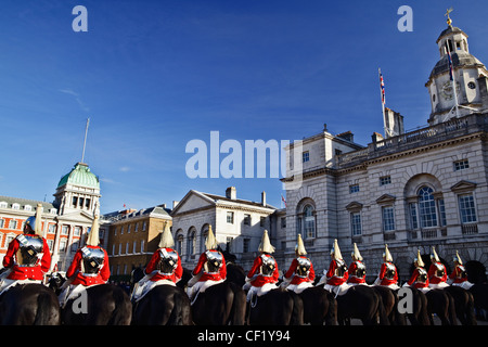 Royal Horse Guards on parade in Horse Guards Parade in front of Admiralty House. - Stock Photo