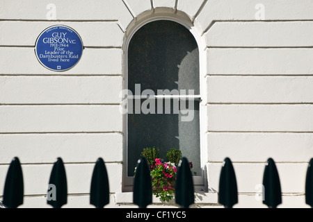 An English Heritage Blue Plaque outside a house on Aberdeen Place off Edgeware Road commemorating the occupancy - Stock Photo