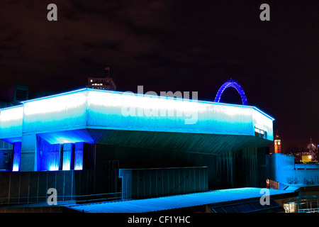 The Royal Festival Hall at night, South Bank of the river Thames, London, England, UK - Stock Photo