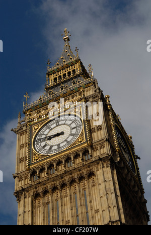 A detail of Big Ben. Big Ben is actually the name of the main bell which lies within the clock tower and whose famous - Stock Photo