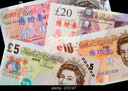 Test banknotes used for training in Chinese Banks. £5, £10, £20, £50 GB sterling - Stock Photo