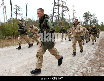 Marines and sailors with Command Element, 24th Marine Expeditionary Unit, conduct annual chemical, biological, radiological - Stock Photo