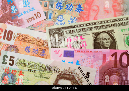 Test banknotes used for training in Chinese Banks. £ sterling, Euros and US dollar - Stock Photo