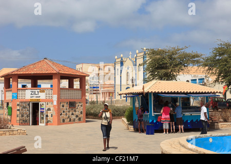 Gift shop and ice cream parlour in the main square of the city of Sal Rei, Boa Vista, Cape Verde Islands - Stock Photo