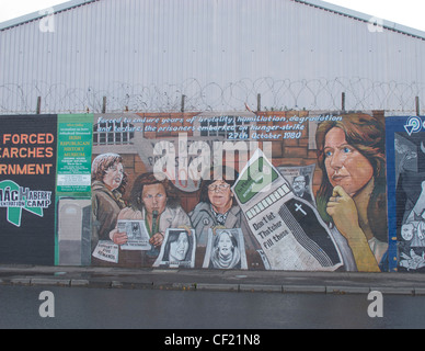 Nationalist mural on the Falls Road in Belfast Northern Ireland - Stock Photo