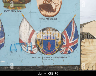 Ulster Defence Association mural in the Loyalist Shankill district of West Belfast, Northern Ireland - Stock Photo