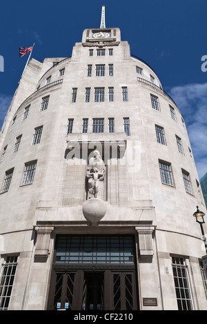 Broadcasting House, built in 1932, the BBC's corporate headquarters. The building was designed by Lieutenant Colonel - Stock Photo