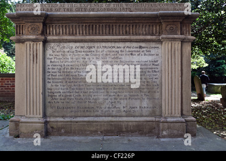 John Harrison (1693 - 1776) memorial in the graveyard of St John-at-Hampstead. John Harrison was the inventor of - Stock Photo