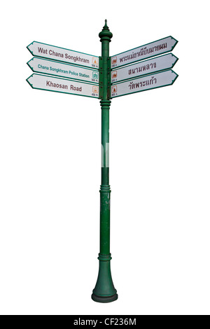 tourist guidepost isolated on white background - Stock Photo