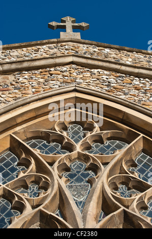 Looking up at stained glass window of St Marys Parish Church, Fowlmere, Cambridgeshire - Stock Photo