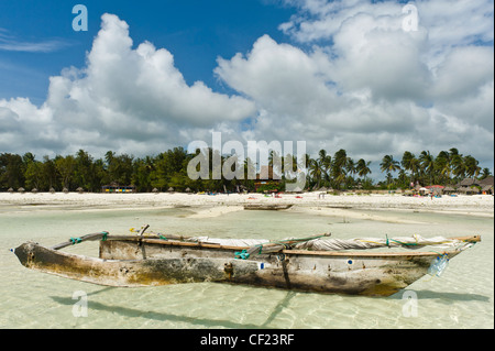 Ngalawa a traditional fishing boat at Paje, Zanzibar, Tanzania - Stock Photo
