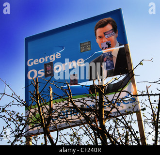 Defaced Apr 2010 Election Poster for George Gideon Osbourne now elected MP and Conservative Chancellor for Tatton - Stock Photo
