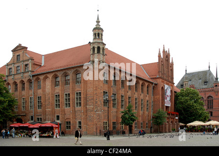 City hall in the old town of Torun in Poland. - Stock Photo
