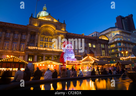 Christmas decorations at the Frankfurt Christmas Market held at Victoria Square and Upper New Street in Birmingham - Stock Photo