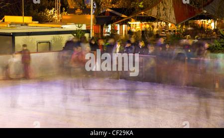 Edinburgh Christmas Fair. Ice rink in the East Princes Street Gardens.