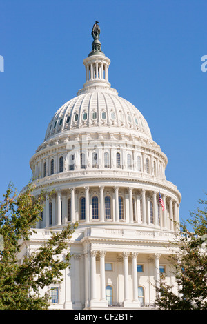 Dome of the United States US Capitol Building Washington DC. West front seen from the National Mall. - Stock Photo